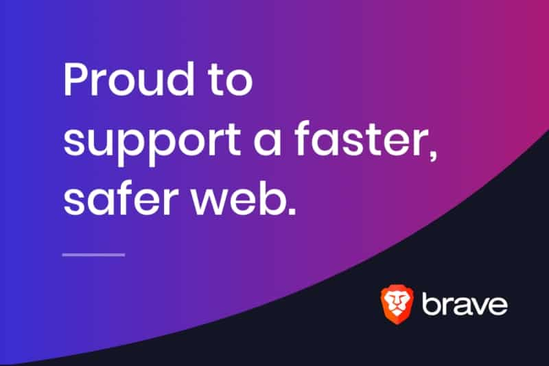 Brave Logo und Proud to support a faster, safer web